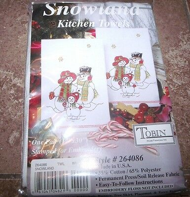 """Tobin Stamped Embroidery Kitchen Towels SNOWLAND Family 17"""" x 30"""""""