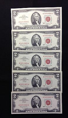 5 Consecutive Low Numbers $2 Red Seal US Notes, Crisp & Uncirculated