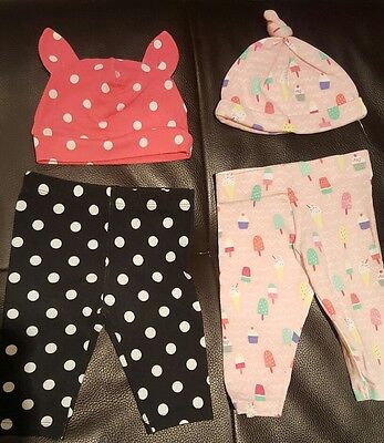 New Florence & Fred/H&M Baby Girl Bundle, Cotton Hats & Leggings 0-3 Months