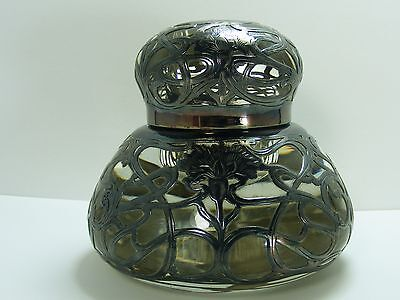 Antique Clear Art Glass Silver Overlay INK WELL Art Nouveau Big Crystal Glass