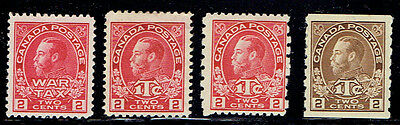 Canada Admiral WAR TAX mint lot including a MR7iii Type I stamp