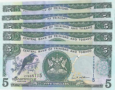5 notes 2006 Trinidad and Tobago $5 dollar unc !!!! combined shipping