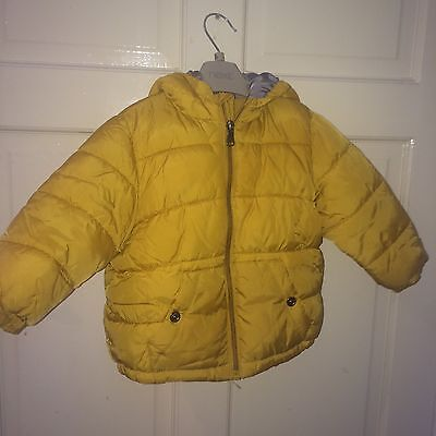 Boys Yellow Zara  Quilted Coat Age 9-12 Months