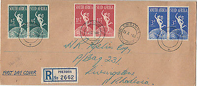 Stamps South Africa 1949 UPU bi-lingual pairs on FDC sent registered to Rhodesia