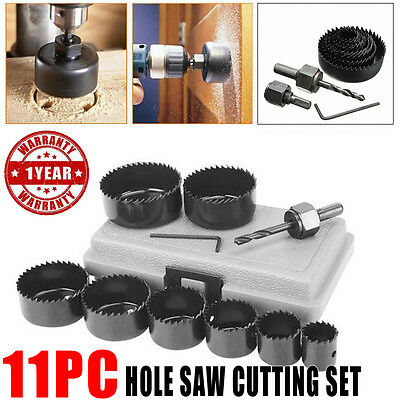 11Pcs Hole Saw Cutting Set Kit 19-64mm Circular Round Wood Alloy Open-hole Tool
