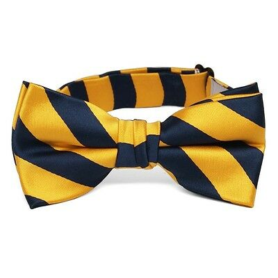 Boys' Navy Blue and Golden Yellow Striped Bow Tie