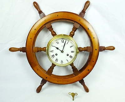 Schatz Royal Mariner Ships Bell 8 Day Clock w/Key Brass Wood Ship Wheel