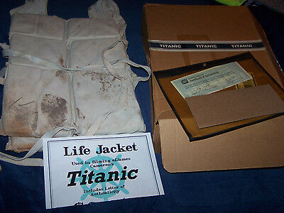 TITANIC 1997 Cameron movie LIFE JACKET screen used prop in sinking scene COA