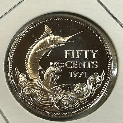 1971 Bahamas Silver Marlin 50 Cents Brilliant Uncirculated Coin