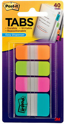 "3M Post-It Tabs .625"" x 1.5"" & 1"" x 1.5"" Durable Writable Repositionable 40pc"