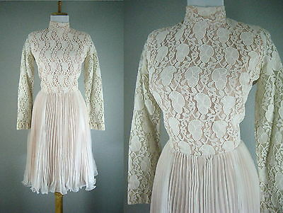 VINTAGE 1960s LACE CHIFFON WHITE BLUSH WEDDING COCKTAIL PARTY DRESS S