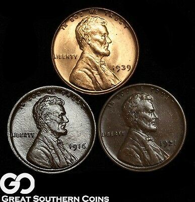 3-Coin Lot, Lincoln Cent Wheat Penny 1916, 1921-S, 1939