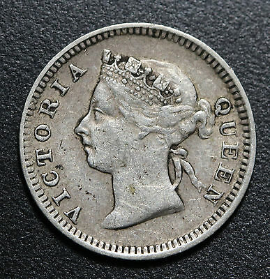 1900 Straits Settlements 5 Cents KM# 10 Silver Coin Queen Victoria