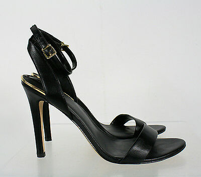 Aldo Solid Black Open Toe Ankle Buckle High Heel Shoes Size 9