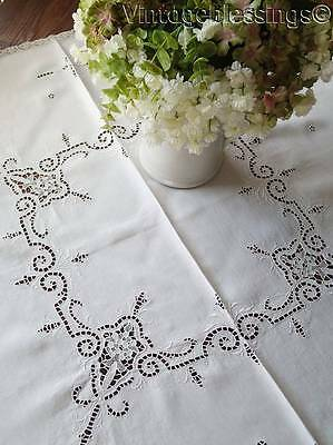 Antique Cutwork Point de Venise Lace Embroidered Tablecloth French Cottage