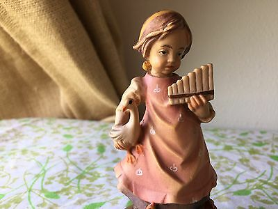 ANRI Carved Wood GIRL Goose Chicks Carving Italian