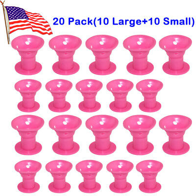 20pc Silicone Hair Curler Magic Hair Care Roller Hair Styling Tool Pink