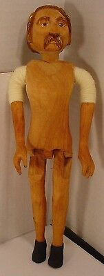 RARE 1981 Carved Folk Art Wooden Doll Figure Tom Wolfe Jointed Carved man