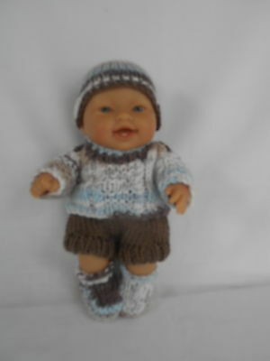 Hand knitted dolls clothes (Winter set) suit 20cm, 8 inch Berenguer doll