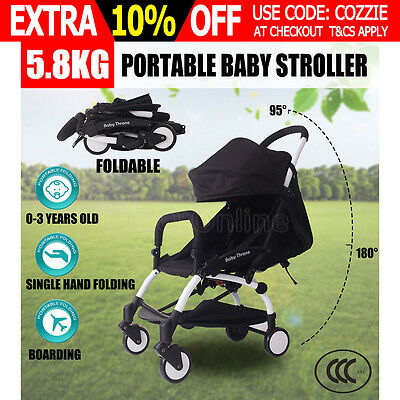 Newborn Portable Baby Stroller Pram Compact Lightweight Jogger Carry-on Black