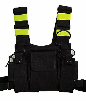Security Scout Radio Chest Holder Strap Harness Rig Pack Holster for Walki Talki