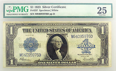 Series of 1923 $1 Large Size Silver Certificate Blue Seal Fr#237 PMG VF25