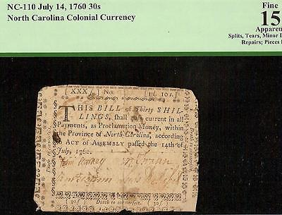 1760 North Carolina Colonial Currency Note Old Paper Money Pcgs 15