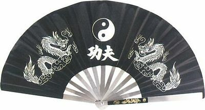 "27"" STAINLESS STEEL & NYLON ASIAN *POP* FAN Tai Chi/Kung Fu/ DRAG QUEEN- Black"