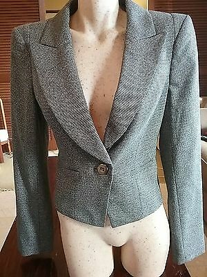CUE Black And Grey Houndstooth Blazer With Pleated Hemline Back Size 12.