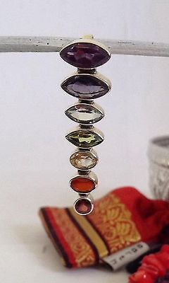 641 Chakra pendant solid 925 sterling silver 7 genuine gemstones rrp $79.95
