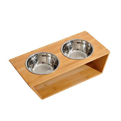 PawHut Pet Feeder Twin Dish Double 2 Bowls Bamboo Raised Dogs Stainless Steel