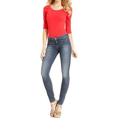 Guess 8190 Womens Brittney Blue Denim Mid-Rise Skinny Jeans Juniors 25 BHFO