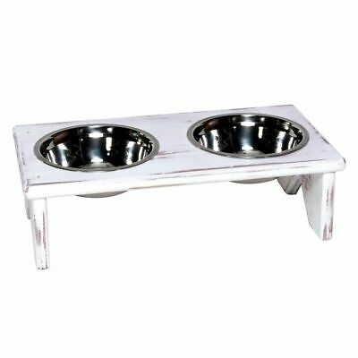 Dog Bowl and Cat Bowl Stand - Wooden - 2 Bowls - Food and Water for your Pets