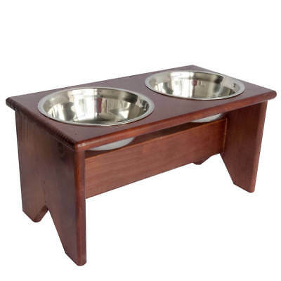 "Elevated Dog Bowls Stand - Wooden - 2 Bowls - 250 mm/10"" Tall - Raised Dog Bowls"