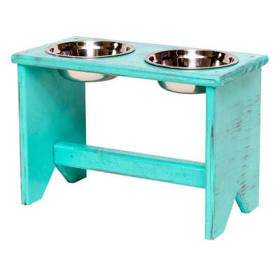"Elevated Dog Bowls Stand - Wooden - 2 Bowls - 300 mm/12"" Tall - Raised Dog Bowls"