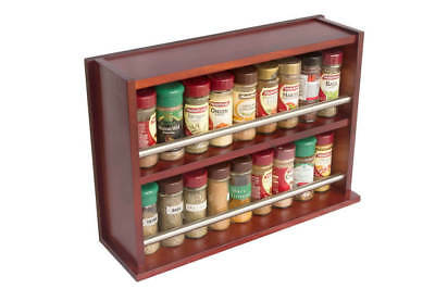 Spice Rack - Wooden - Closed Top - 2 Tiers - Stainless Steel Bar - 36 Spice Jars