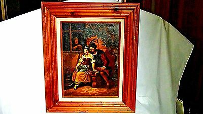 Antique Old Dutch Genre Oil On Canvas Painting W/Young Couple Courting Scene
