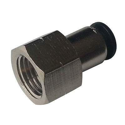 """5 Pcs Pneumatic Push In Air Fitting Straight Female Connector 1/4""""OD*1/4""""NPT"""