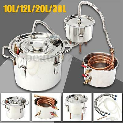 AU 10L-30L Alcohol Moonshine Water Copper Home Stainless Distiller Brewing Kit