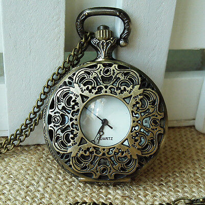 Bronze Antique Hollow Analog Necklace Chain Jewelry Gift Quartz Pocket Watch