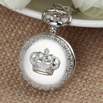 Silver Alloy Crown Steampunk Necklace Chain Quartz Small Pocket Watch Gifts