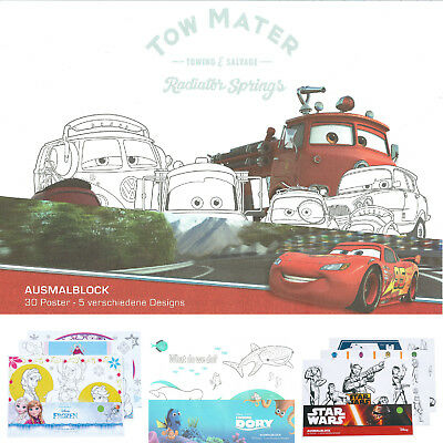 Disney Ausmalblock Kinder Malen Poster Star Wars Cars Frozen Finding Dory Spiele
