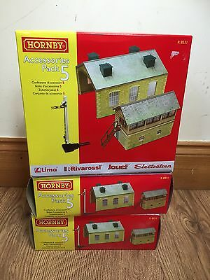 Hornby R8231 Accessories Pack 5 Trakmat Track Engine Shed Signal Box OO Gauge
