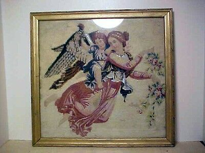 C.1840 Needlepoint Yarnwork Beadwork Framed Tapestry Angel And Cherub
