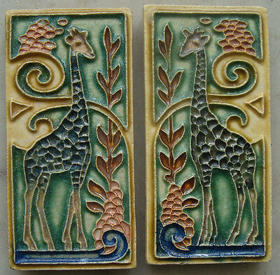 Two mirrored Royal Delft (Porceleyne Fles) Cloisonné tiles with a giraffe