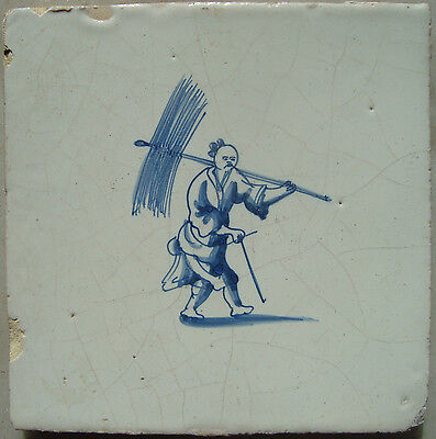 17th century Delft tile with Chinese figure ± 1680