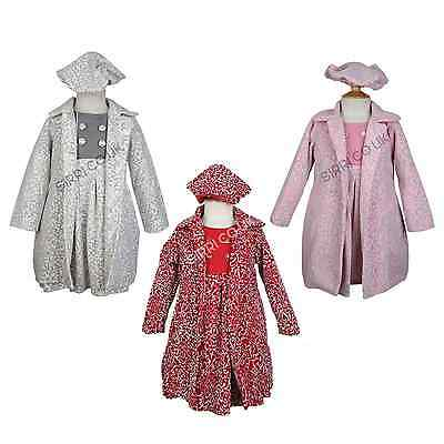 Little Girls Winter Embossed Print Coat Dress and Hat Girls Kids 3 Piece Outfit