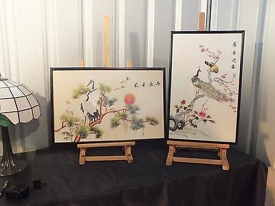 Pair of Quality Chinese Silk Embroidery Panels with Traditional Birds / Foliage