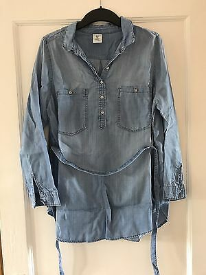 H&m Mama Maternity  Denim Top Blouse Shirt Size Large L
