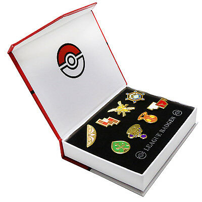 Pokemon Gym Badges in box Kalos League Set 8 Badge Pins for Cosplay